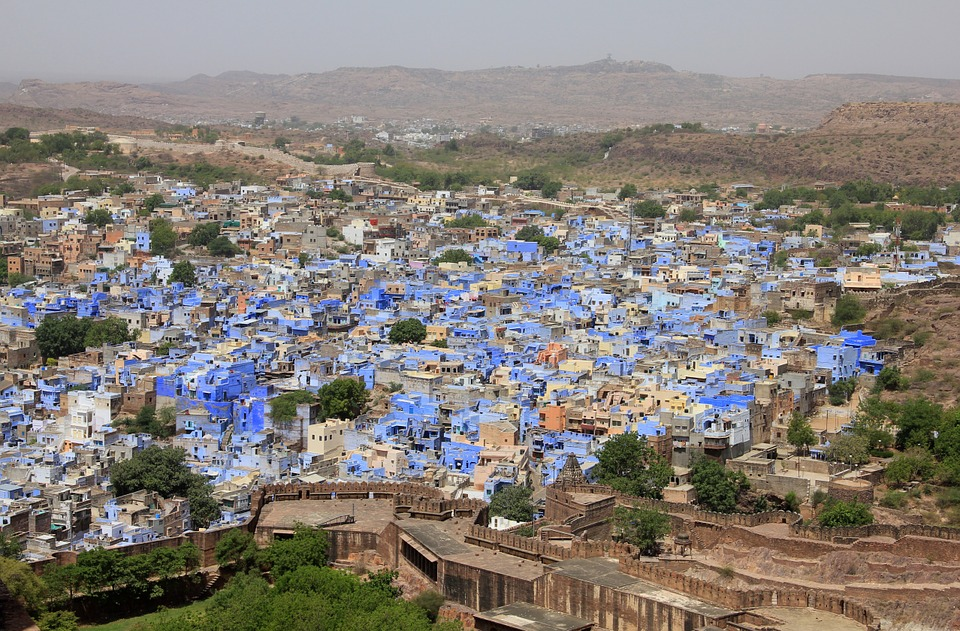 des maisons bleues en inde à jodhpur