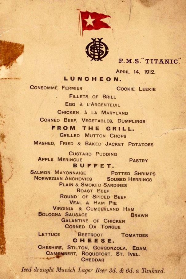 titanic menu 1ere classe