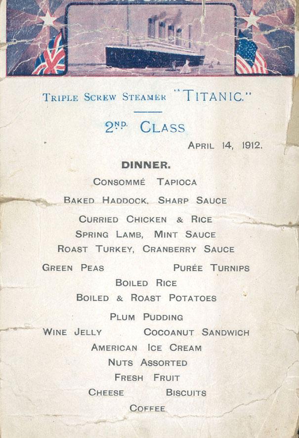 titanic menu 2nd classe
