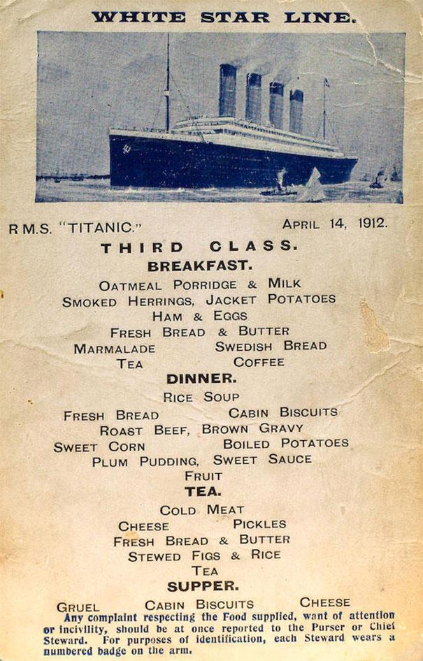 titanic menu 3eme classe