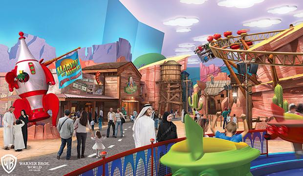 Premier aperçu du parc Warner Bros. World d'Abu Dhabi sur l'île de Yas