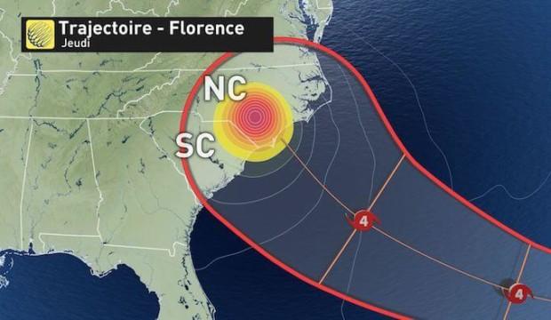 L'ouragan Florence: des risques d'inondations à prévoir sur la côte Est des États-Unis