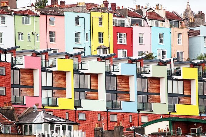 voyage en Angleterre voir les maisons colorées de bristol