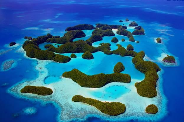 Aerial shots of Rock Islands, Palau.