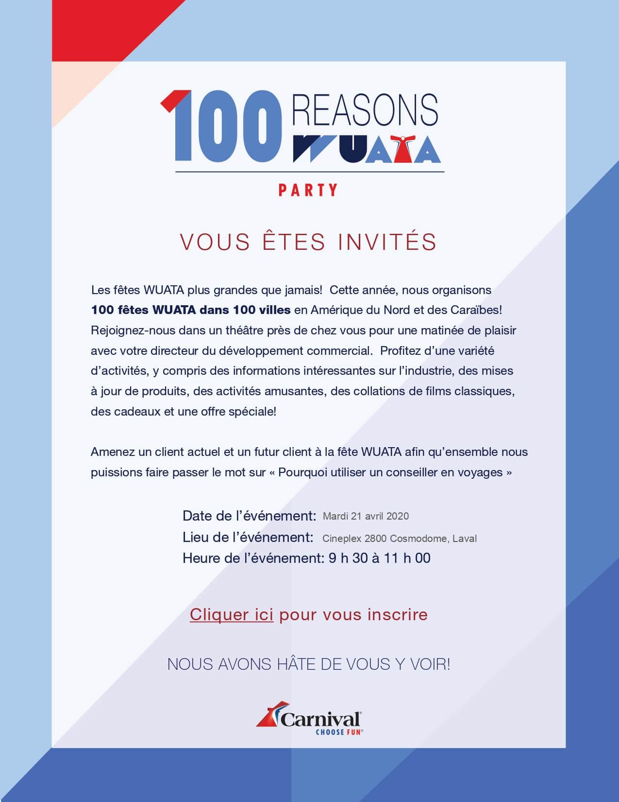 [ÉVÉNEMENT] 🎉 Invitation fête WUATA Laval @ Laval
